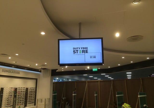 Digital signage and background music at Glasgow Airport by MVS Audio Visual