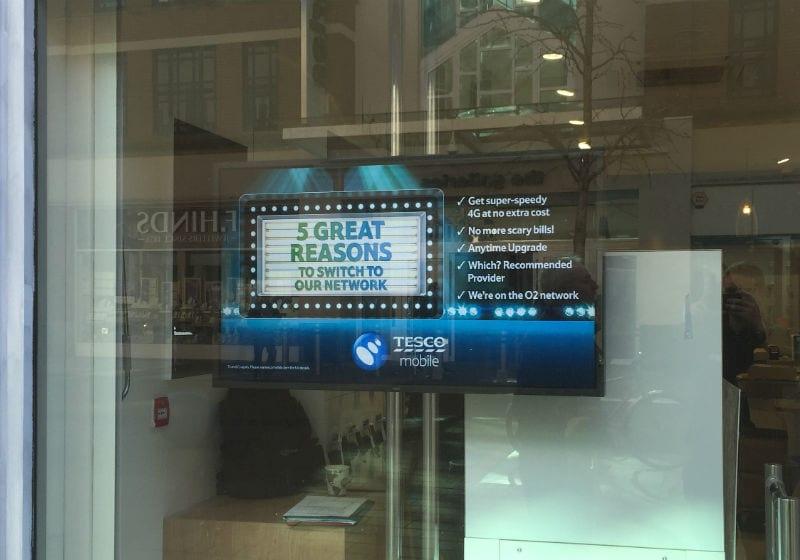 Digital sign at Tesco Phoneshop by MVS Audio Visual